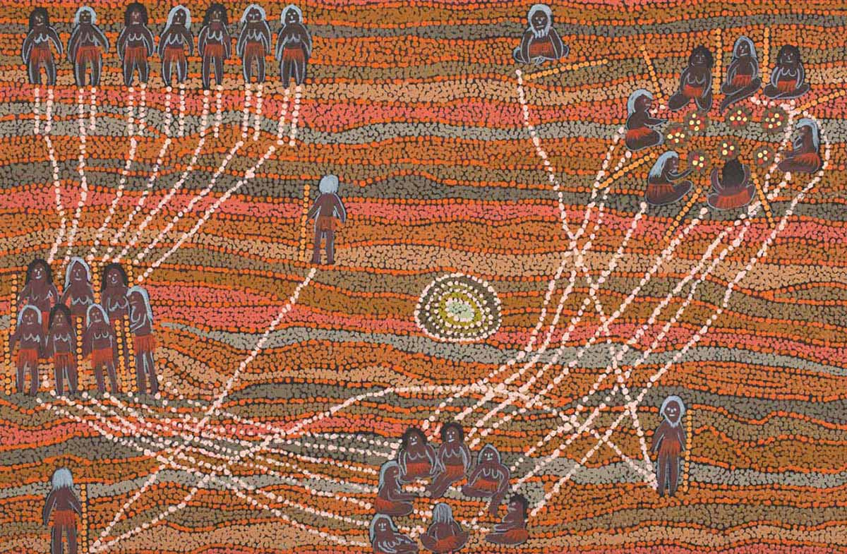 An acrylic painting on canvas showing groups of people and individuals, connected by white dotted lines. The background is made of dot infill in predominantly red and orange tones. - click to view larger image