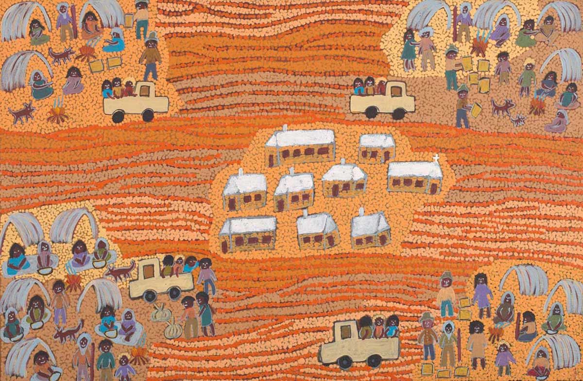 An acrylic painting on canvas showing buildings in the middle with groups of people in shelters and vehicles in each of the corners. The background is made up of dot infill in orange and yellow. - click to view larger image