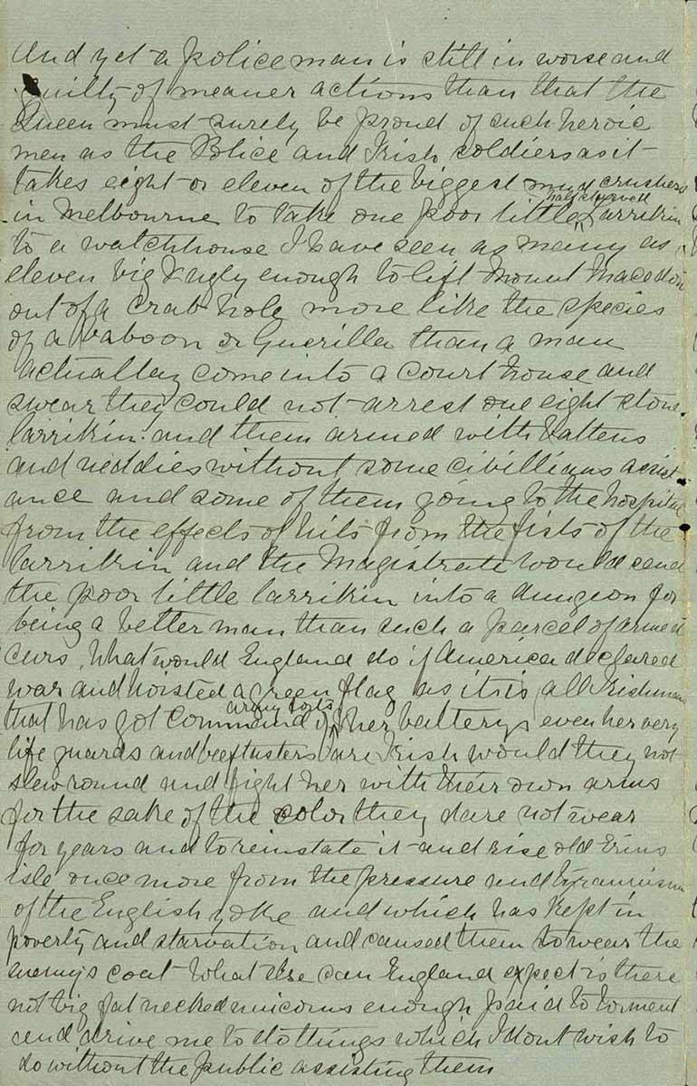 Page thirty two of Ned Kelly's Jerilderie letter. - click to view larger image