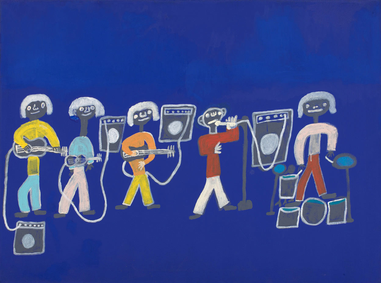 An acrylic painting on canvas showing five musicians with instruments, against a bright blue background. - click to view larger image