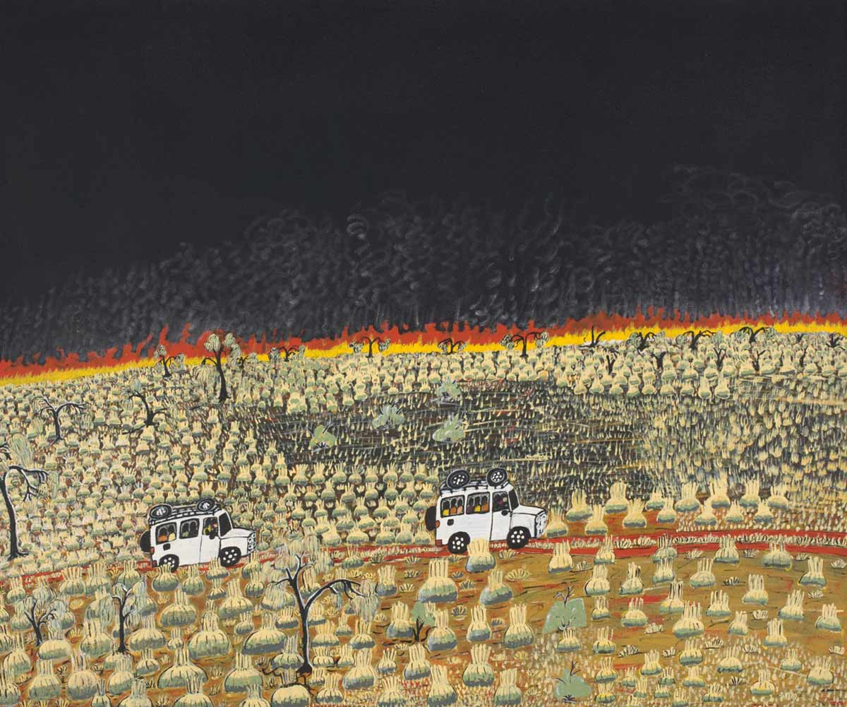 A painting depicting a black night sky and a landscape with clumps of grass and a few trees . Across this on a red earth road there are two four-wheel drives travelling each with a number of passengers inside and luggage on the roof. - click to view larger image