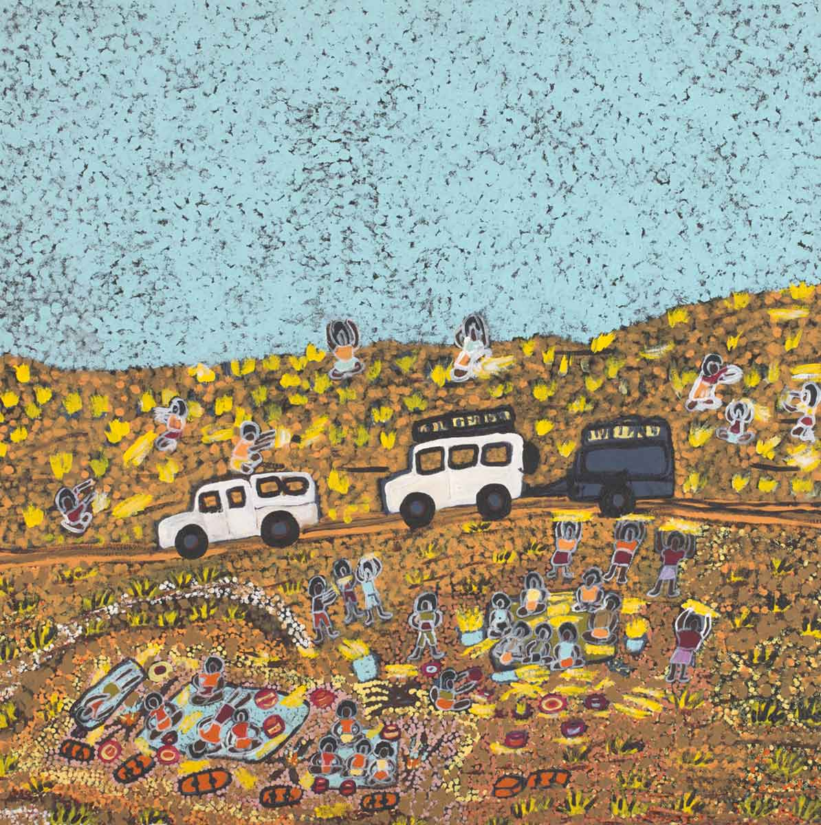 An acrylic painting on canvas showing two vehicles, one with a trailer, travelling on a road past a gathering of people. - click to view larger image