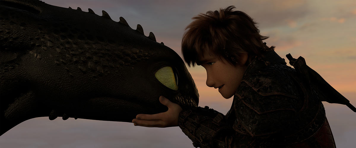 A still image from an animation film depicts a boy holding the face of a dragon with both his hands.