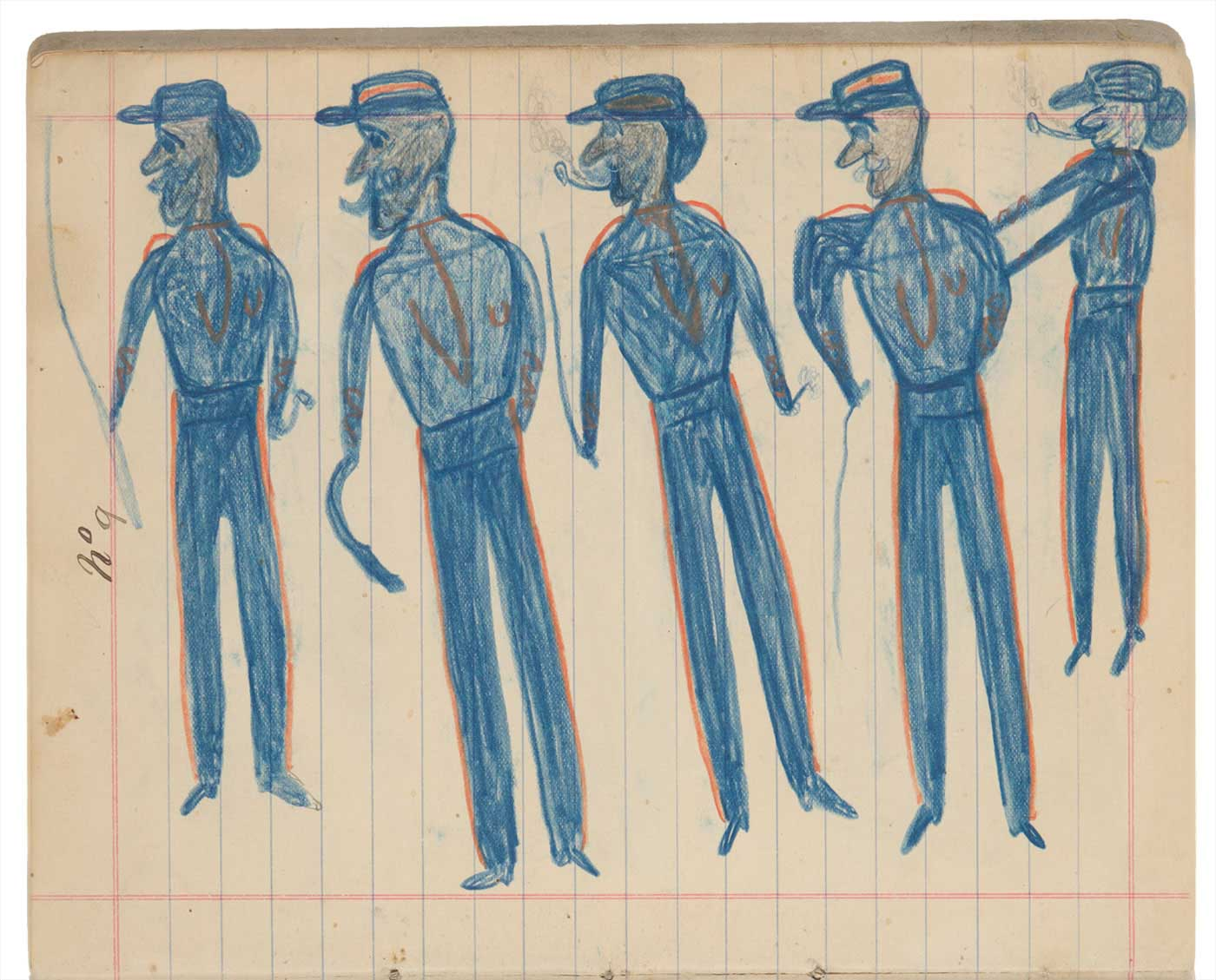 Sketchbook drawings of fiveblue figures wearing hats - click to view larger image