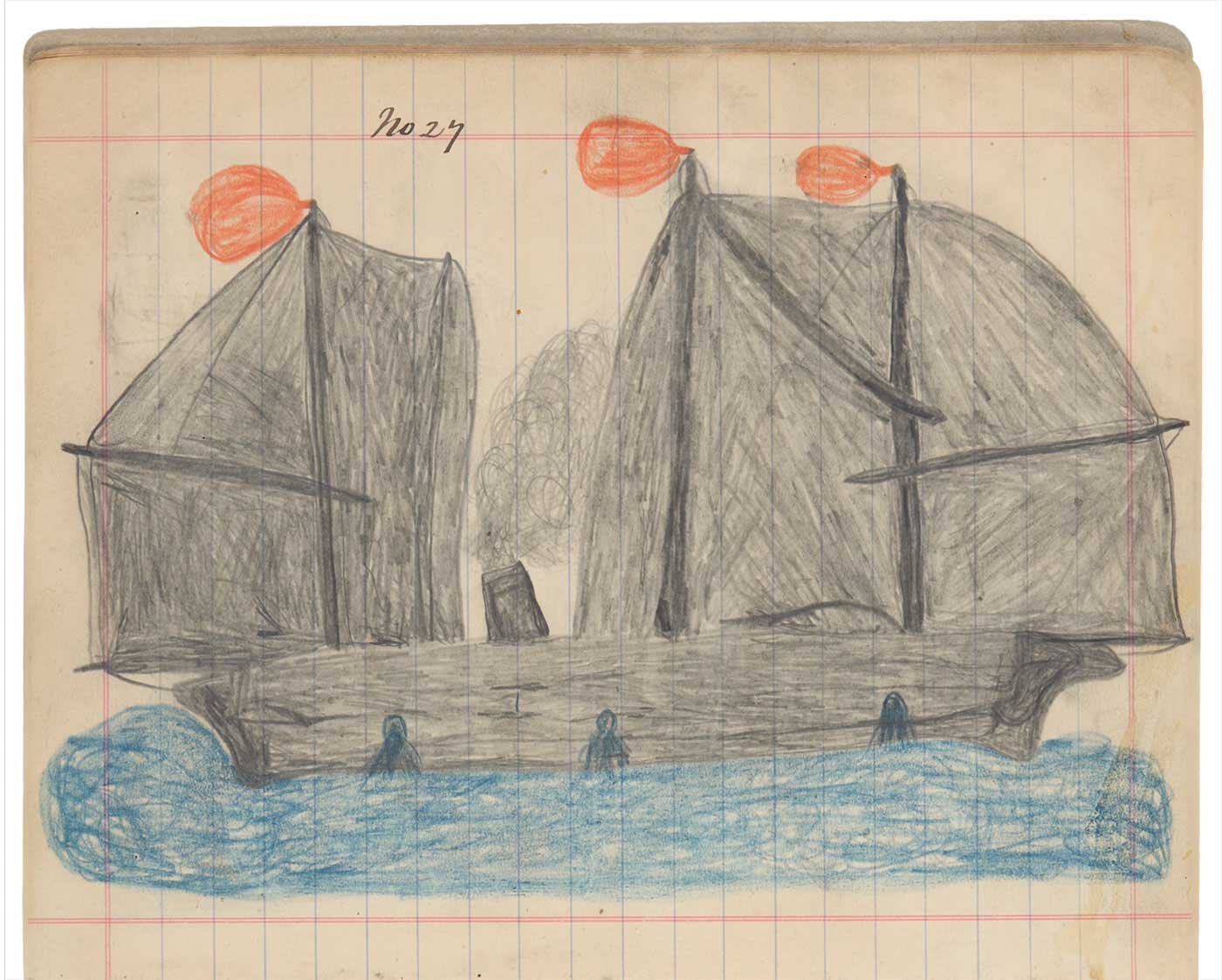 Sketchbook drawing of a grey ship, with three orange flags and a chimney pouring out smoke, on the blue water. Three blue figures can be seen rising from the water. - click to view larger image