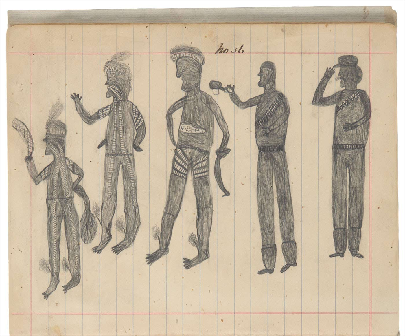 Sketchbook drawing of three Indigenous men dressed in traditional clothing and two men with rounds of ammunition slung across their shoulders - click to view larger image