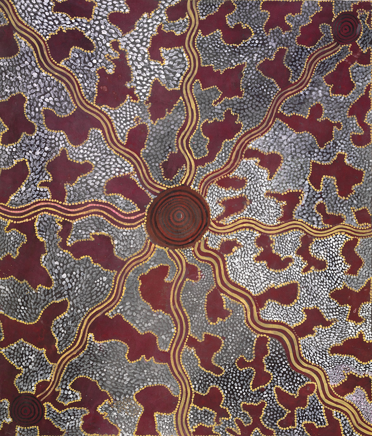 Honey Ant Hunt 1975 by Tim Leura Tjapaltjarri. - click to view larger image