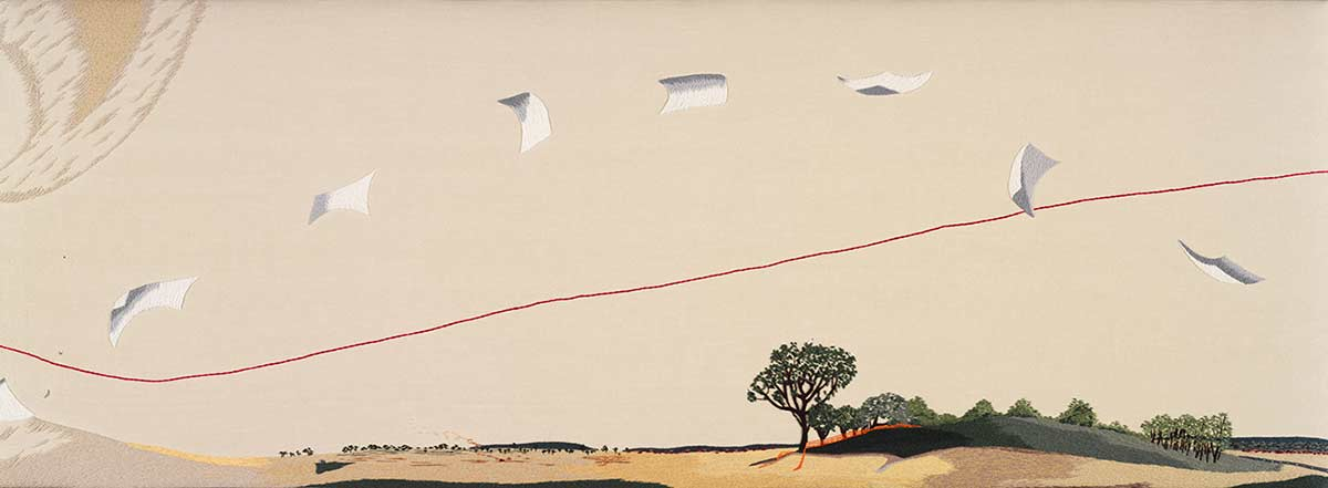 The second panel to 'The Crimson Thread of Kinship' embroidery. This panel features a cloud made of pieces of paper trailing across the sky and over the landscape. - click to view larger image