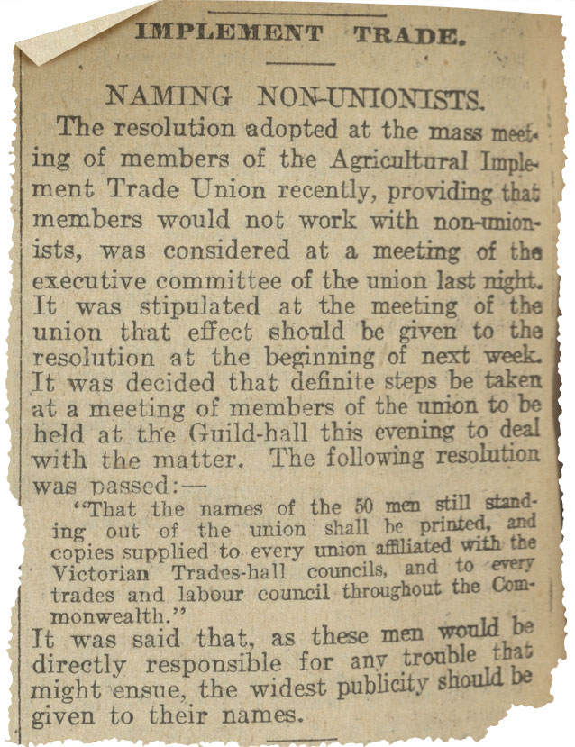 Newspaper clipping titled 'Naming non-unionists'. - click to view larger image