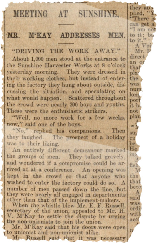 Newspaper clipping titled 'Meeting at Sunshine'. - click to view larger image