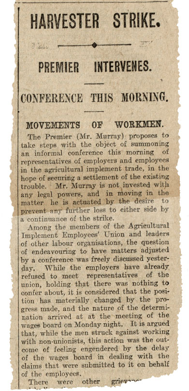Newspaper clipping titled 'Harvester strike, Premier intervenes'.