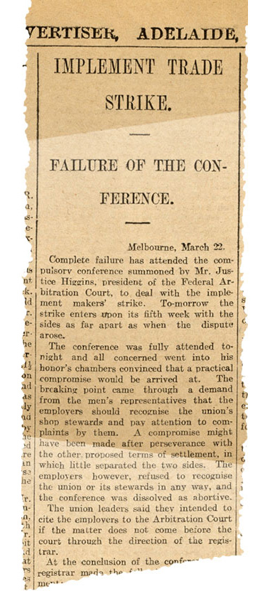 Newspaper clipping with title 'Implement trade strike'. - click to view larger image