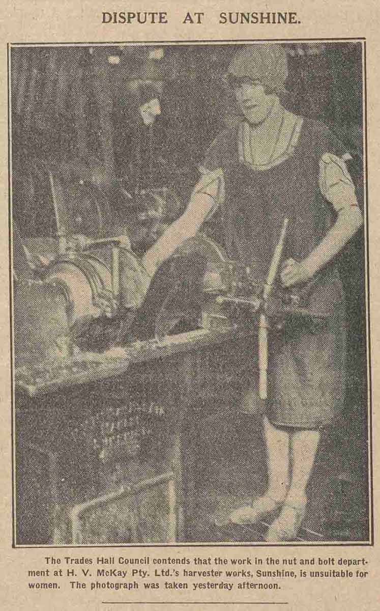 Newspaper clipping of a female worker titled 'Dispute at Sunshine'.