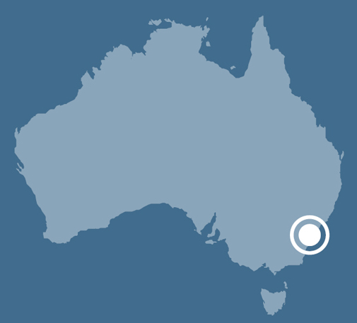 A map of Australia indicating the location of Botany Bay in New South Wales.