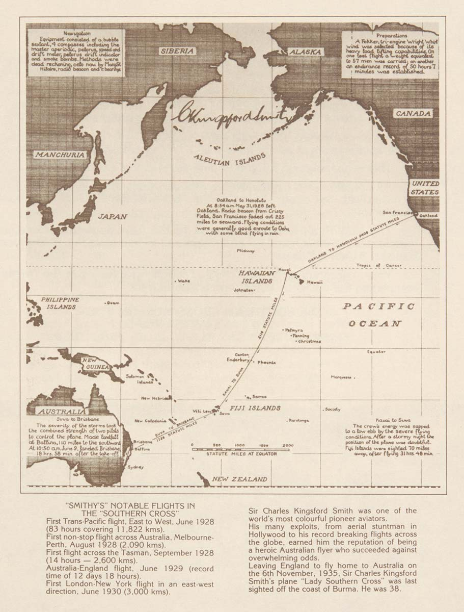 Map of Charles Kingsford Smith's flights around the world. - click to view larger image
