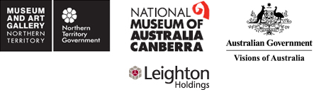Logos for Museum and Art Gallery Northern Territory, Northern Territory Government, Australian Government Visions of Australia and Leighton Holdings.