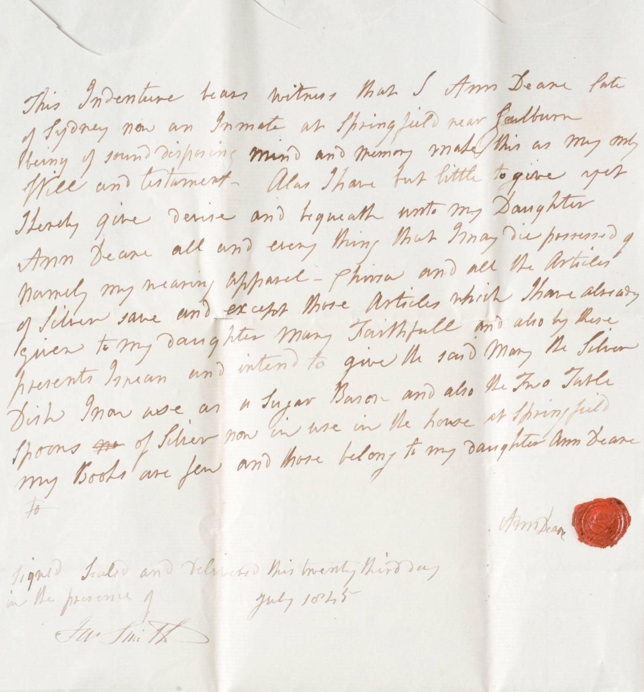 Ann Deane's handwritten will, July 1845.