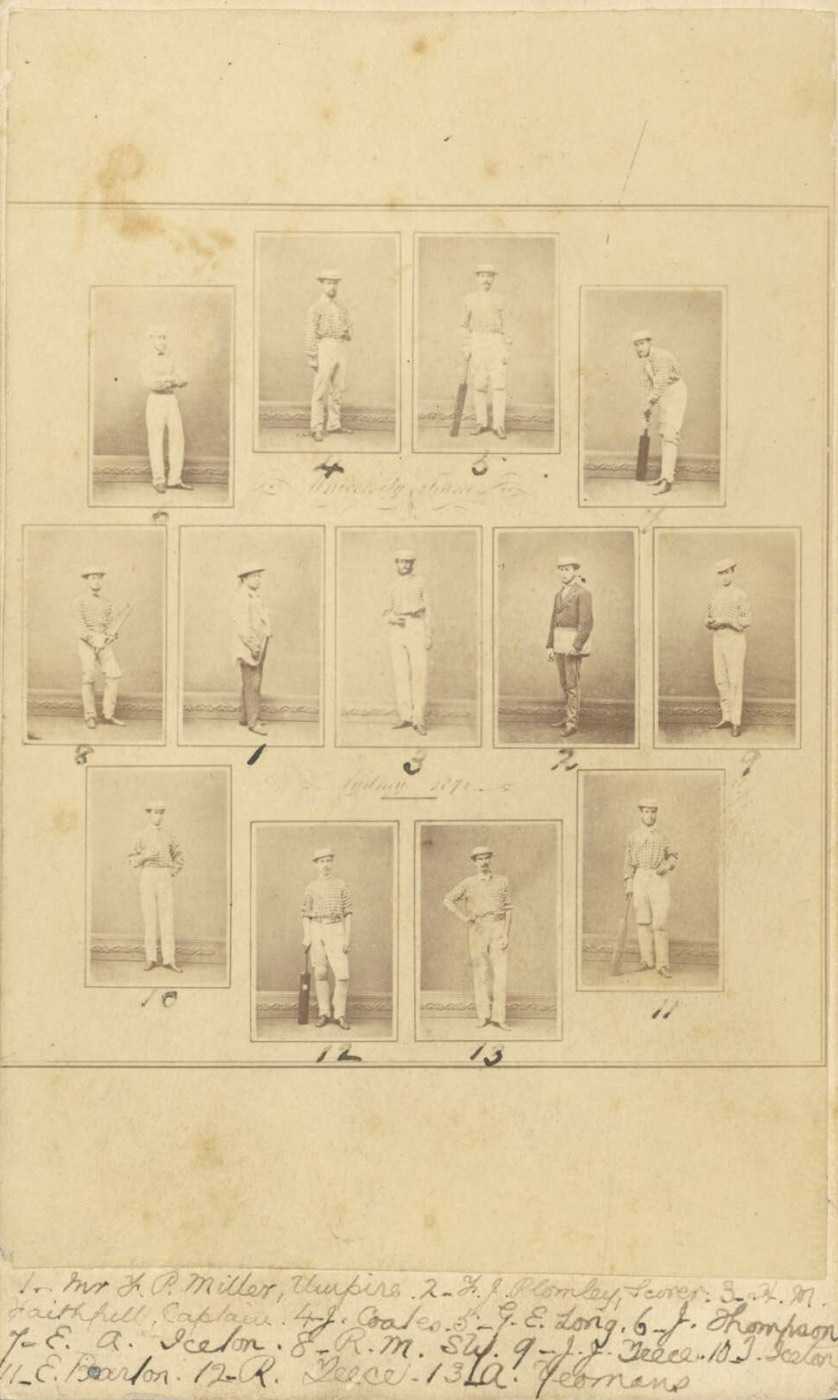 Thumbnail photographs of each member of the Sydney University Cricket Team 1871 with a number written in beneath each portrait and a legend of who's who written on the bottom - click to view larger image