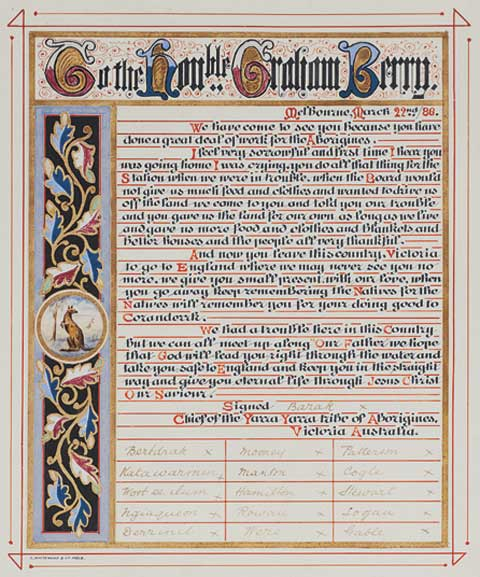 Illuminated address, with ornate decorative panel at the left and the words 'To the Hon..ble Graham Barry' inscribed the top. Text in black and red script is signed 'Barak x' and by 15 others.