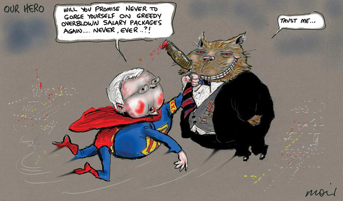 A colour cartoon depicting Kevin Rudd, dressed as a superhero with a red cape, flying high above a city. He holds by the tie a fat cat, dressed in a business suit and smoking a cigar. Mr Rudd says, 'Will you promise never to gorge yourself on greedy overblown salary packages again ... never ever... ?!' to which the grinning cat responds, 'Trust me ...'. - click to view larger image