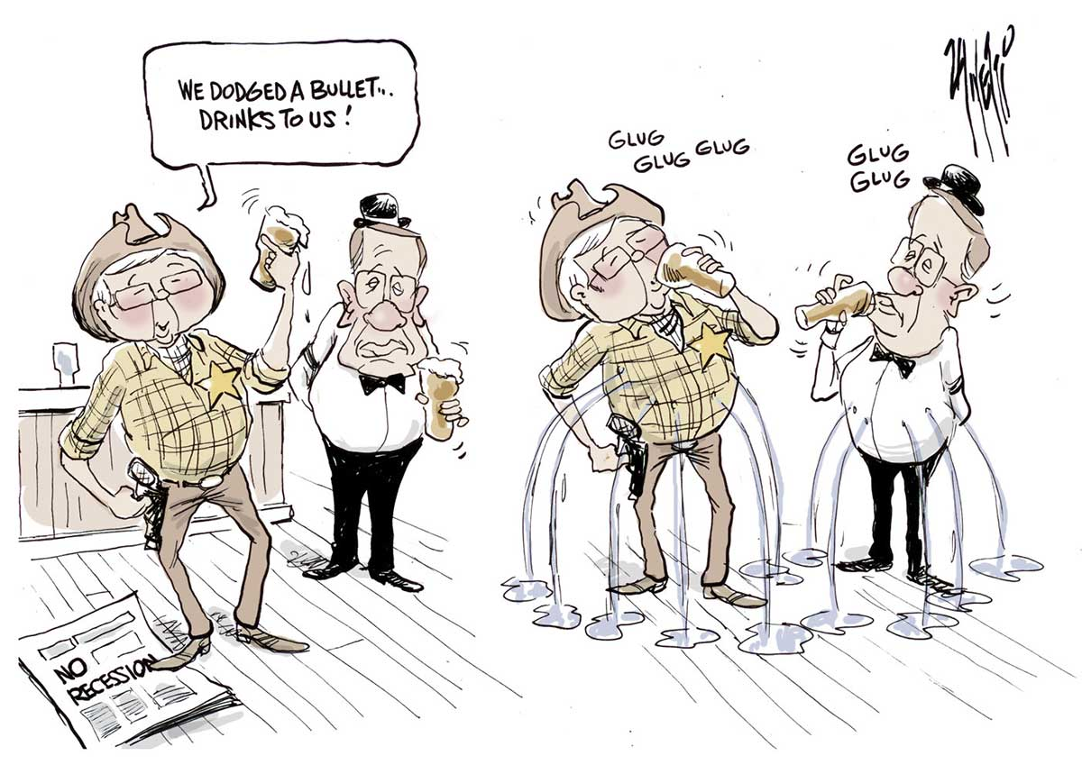 A colour cartoon depicting Kevin Rudd dressed as a sheriff, in checked shirt, hat and with a gun in holster, standing at a bar with a raised glass, telling Wayne Swan, who is dressed as a bartender, 'We dodged a bullet ... drinks to us!' Mr Rudd stands on a newspaper bearing the headline 'No recession'. In the next scene, as both men consume their drinks with a 'Glug, glug,' liquid pours from multiple bullet holes in their middles. - click to view larger image