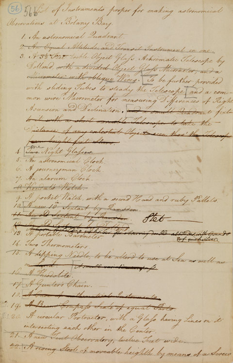 Lieutenant William Dawes' 'List of Instruments proper for making astronomical Observations at Botany Bay' 1786. - click to view larger image