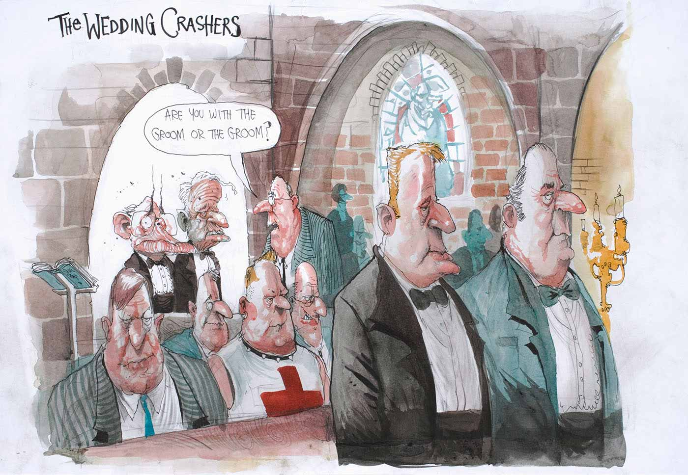 "Cartoon of John Howard and Phillip Ruddock attending Alan Jones's wedding.  The usher asks, ""Are you with the Groom of the Groom?"" - click to view larger image"