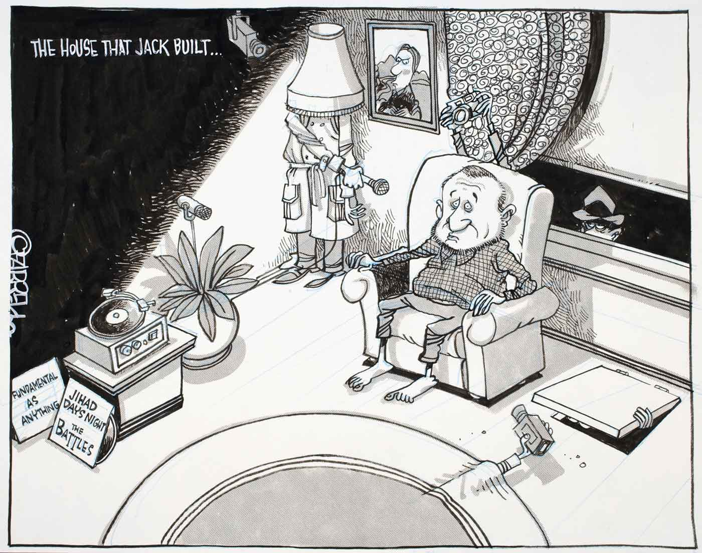 Cartoon of a man in his lounge room sitting in an armchair with spies and cameras hiding in various places including under a lamp, in a pot plant under the rug and floor and outside the window - click to view larger image