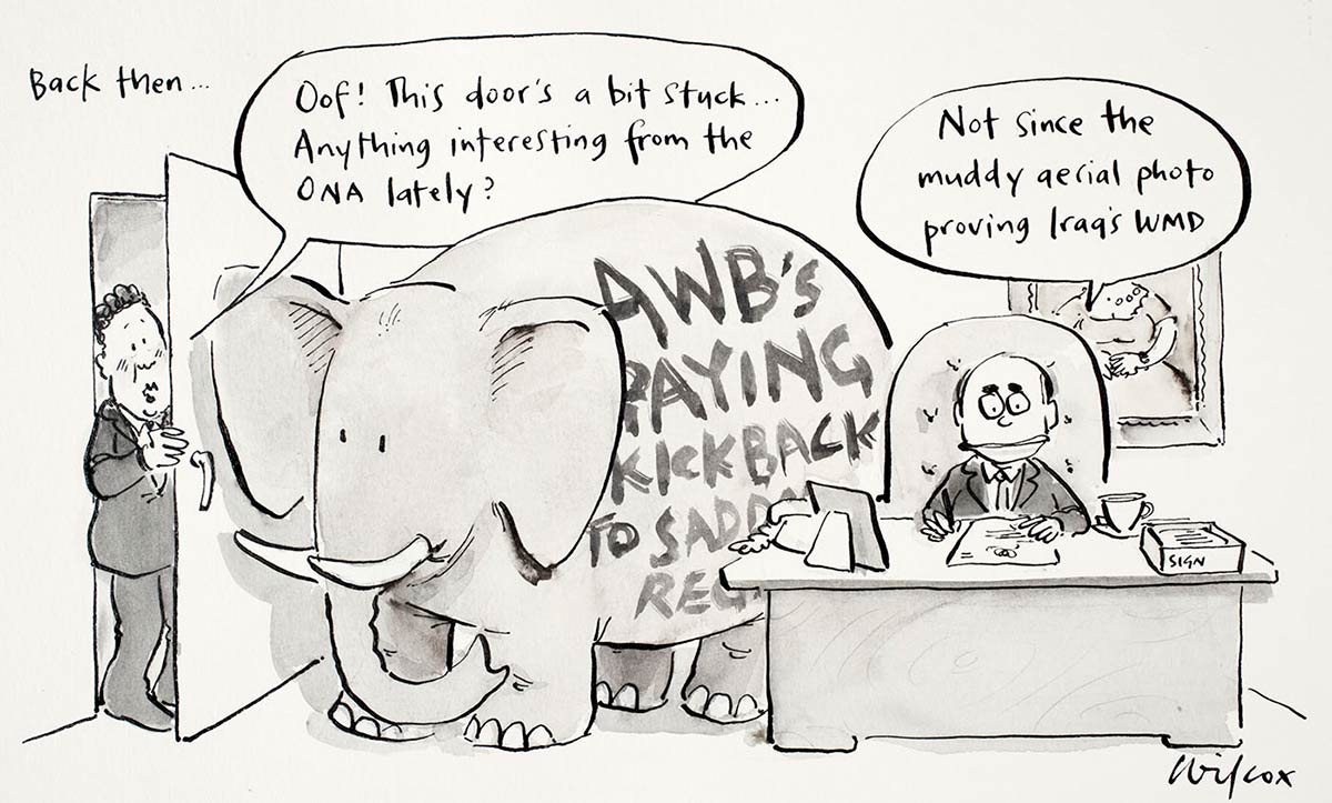 Cartoon of a Alexander Downer trying to squeeze through the door of John Howard's office - it is being blocked by an elephant with the words 'AWB's paying kickback to Saddam regime' written on it - click to view larger image
