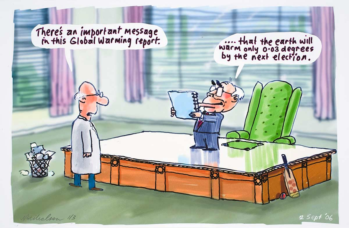 Cartoon of John Howard standing on his desk holding the Global Warming report and reading that the earth will warm only 0.03 degress by the next election - click to view larger image