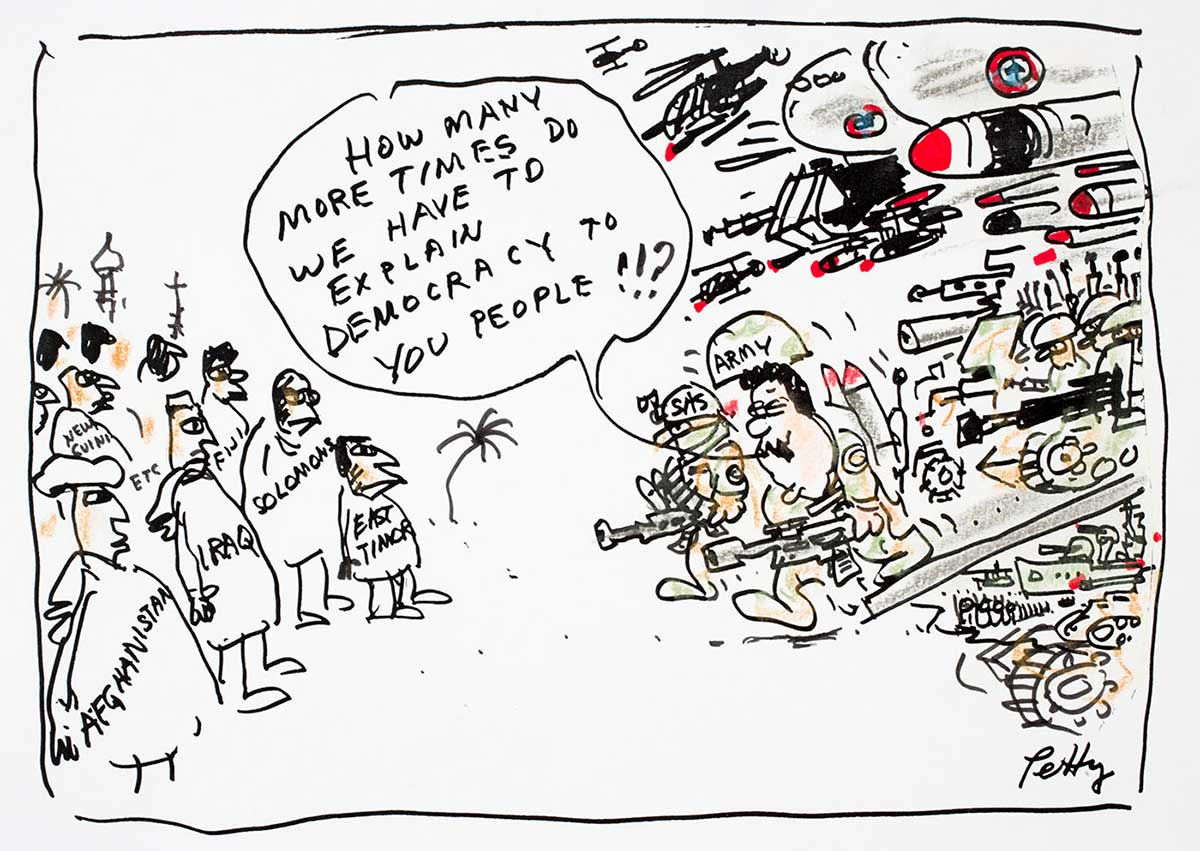 "Cartoon of people from war torn countries being told by army solidiers with guns, tanks, missiles and helicopters, ""How many times do we have to explain democracy to you people?"" - click to view larger image"