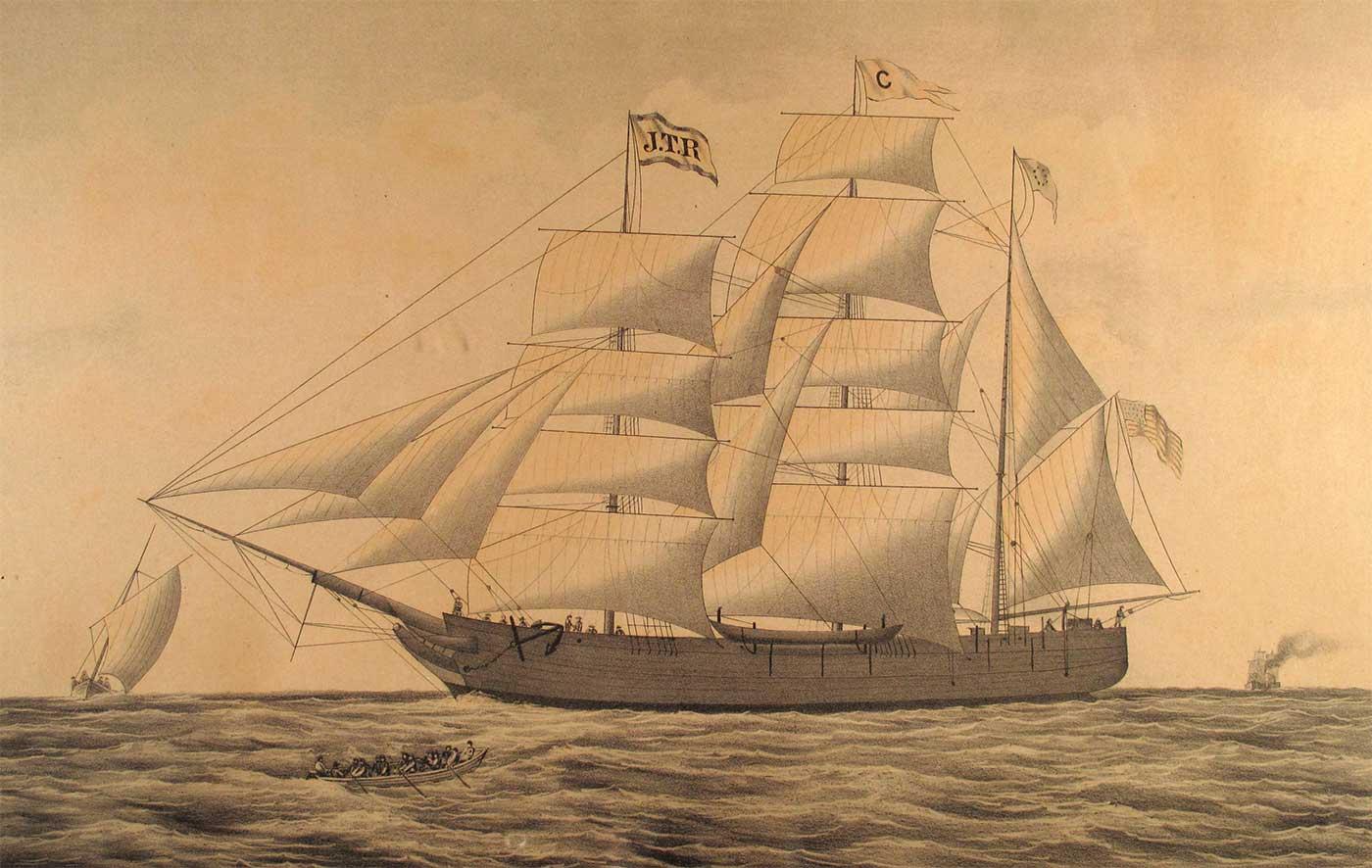 Illustration of an 19th Century sailing ship at sea. - click to view larger image