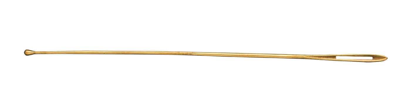Gold needle like tool.