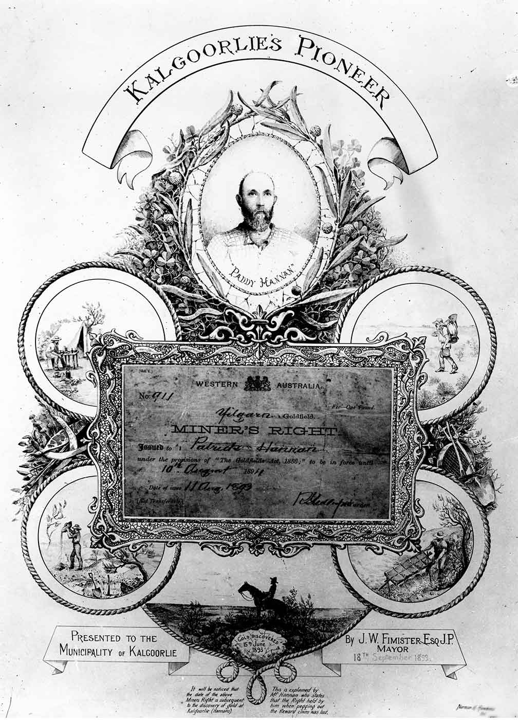 Certificate with the text: KALGOORLIE'S PIONEER. - click to view larger image