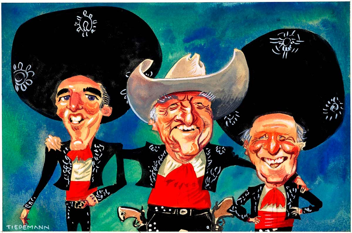 A colour cartoon depicting Rob Oakeshott, Bob Katter and Tony Windsor. They all wear black Mexican cowboy suits, with red shirts. Oakeshott and Windsor wear black Mexican sombreros, while Katter wears his trademark white cowboy hat. Katter stands between Oakeshott and Windsor; he wears a pair of pistols in holsters on his hips. He has his arms around the other two. All three smile broadly.  - click to view larger image