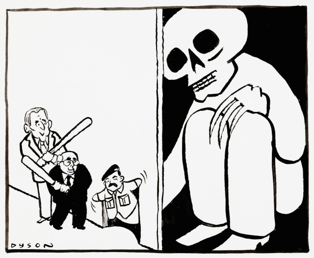 Cartoon of George Bush and John Howard approaching a hole in the wall, carrying clubs. Sticking out of the hole they see a puppet of Saddam Hussein. Holding this puppet, on the other side of the wall,  is a large creature with long claws and a skull head. - click to view larger image