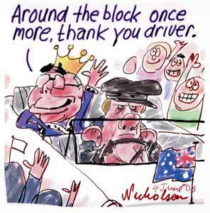 A cartoon depicting Peter Costello and John Howard driving past cheering crowds in an open top car. Costello is wearing a flat cap, and driving with frustreated expression. Howard is wearing a crown in the backseat, smiling and waving to the crowds. He says 'Around the block once more, thank you driver'. - click to view larger image