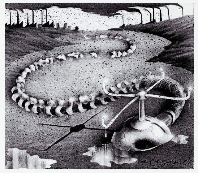Cartoon of a coiled snake skeleton in the dry earth. I'm place of a head, it has a sprinkler.  - click to view larger image
