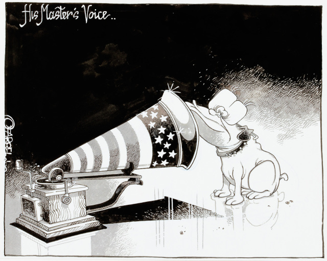 A cartoon featuring John Howard as a dog, listening from close range to a gramophone decorated with the flag of the United States..  - click to view larger image