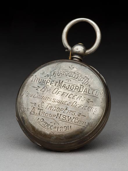 Small silver pocket watch inscribed 'Presented to Trumpet Major Dalton by officers, non-commissioned officers & troopers, A Troup, NSW Cavalry, 18th Dec 1891' - click to view larger image