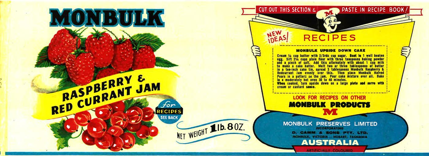 Label for Monbulk Raspberry and Red Current Jam. - click to view larger image