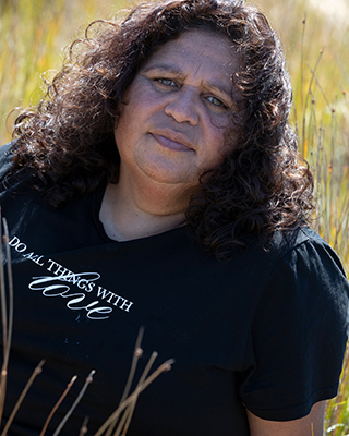 A portrait photo of Cheryl Davison, Aboriginal Creative Producer at Four Winds Festivals.