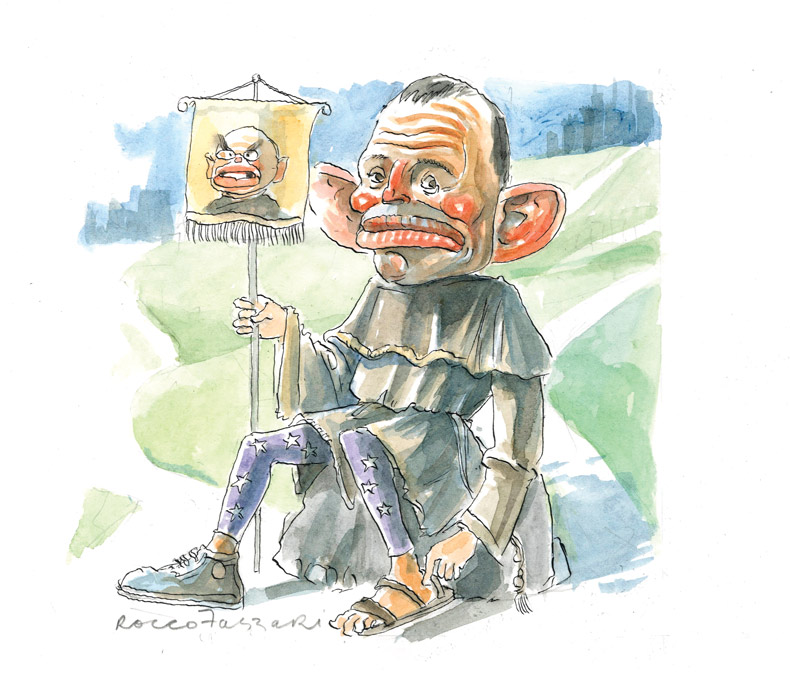 Tony Abbott sits on a large rock in the middle foreground. He wears a monk's habit and purple tights covered in white stars. On his right foot is a sneaker shoe, on his left foot is a sandal. He holds a pole in his right hand. A banner hangs from the top; on the banner is John Howard with a stern face. A grassy slope in the background rises up to the shadowy silhouette of a city. - click to view larger image