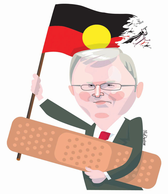 Kevin Rudd, wearing an olive suit and red tie, and carrying an oversized bandaid under one arm. He holds an Aboriginal flag with the other arm. The flag is disintegrating into Aboriginal customary spirit-like figurines at one end. - click to view larger image