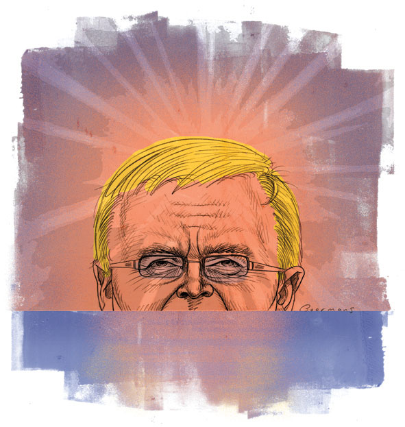 The top three-quarters of Kevin Rudd's head rising above the horizon. The foreground is blue and the sky above the horizon is shades of pink and purple. Rudd is visible from just above his top lip. He wears glasses and has bright yellow hair. Rays of light project up and out from the top of his head.   - click to view larger image