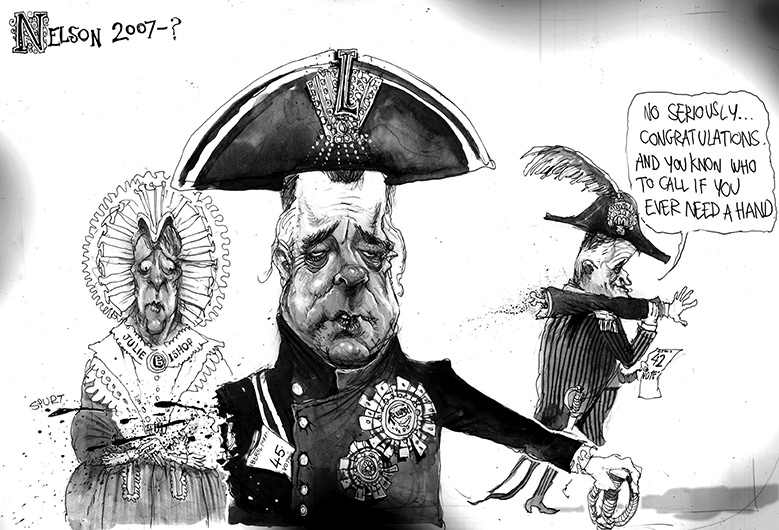 Black and white cartoon with 'Nelson 2007-?' in the top left. Brendan Nelson is in the foreground, with blood spurting from his right arm. He wears a naval hat and coat. A piece of paper which reads '(L)iberal Part(y) 45 vote(s) juts from his coat. Malcolm Turnbull walks away from Nelson saying 'No seriously... congratulations. And you know who to call if you ever need a hand'. Turnbull carries Nelson's severed arm on his shoulder and a piece of paper which reads '42 vote(s)'. Julie Bishop is Nelson's left. - click to view larger image