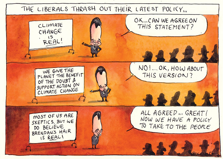 A cartoon divided into three horizontal panels. The heading says 'The Liberals Thrash Out Their Latest Policy...' In all three panels Brendan Nelson with a tall caricature head stands before a white board to the left of the image. To the right are seated party members in silhouette. The whiteboard and Dr Nelson say different things in each panel.     Top panel: Brendan Nelson says to the party members 'OK...can we agree on this statement?' On the whiteboard is written 'Climate change is real!'    Middle panel: Brendan Nelson says to the party members 'No!...OK, how about this version?' On the whiteboard is written 'We give the planet the benefit of the doubt & support action on climate change'.    Bottom panel: Brendan Nelson says to the party members 'All agreed...great! Now we have a policy to take to the people'. On the white board is written 'Most of us are skeptics (sic), but we do believe Brendan's hair is real!'    - click to view larger image
