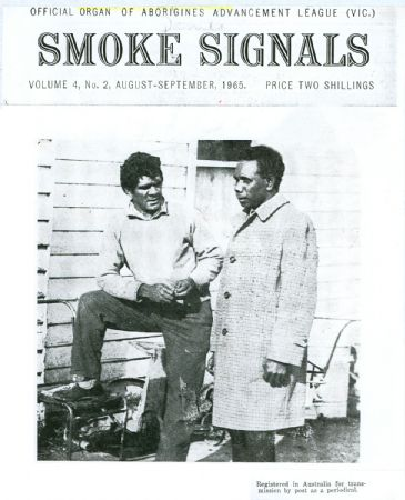 Black and white poster featuring two men wearing 60's style clothing. The publication is: 'OFFICIAL ORGAN OF ABORIGINES ADVANCEMENT LEAGUE (VIC)'. - click to view larger image