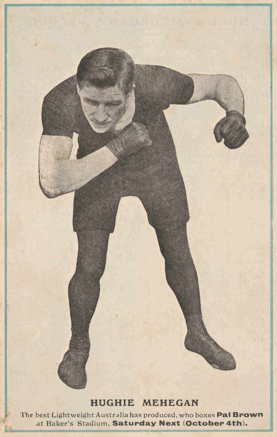 A postcard featuring a black and white photograph of a boxer in fighting pose. - click to view larger image