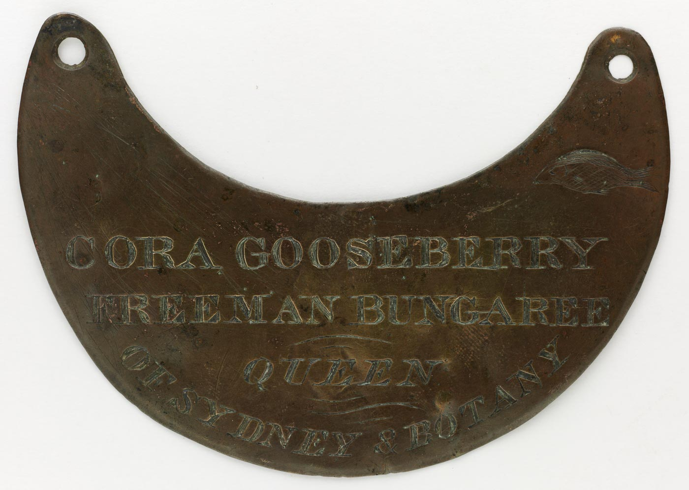 Engraved breastplate awarded to 'Cora Gooseberry'